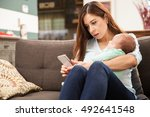 good looking mother taking care ... | Shutterstock . vector #492641548