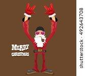 vector rock n roll santa claus... | Shutterstock .eps vector #492643708