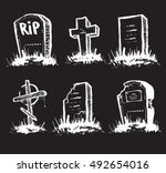 set of tombstones are made from ... | Shutterstock .eps vector #492654016