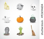 halloween icon set isolated on... | Shutterstock . vector #492654604