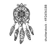 indian dream catcher with... | Shutterstock .eps vector #492656188