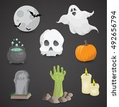 halloween icon set isolated on... | Shutterstock . vector #492656794
