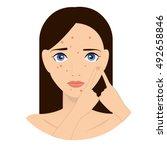 rash on the face illustration.... | Shutterstock .eps vector #492658846