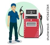 gas station worker holding... | Shutterstock .eps vector #492661564