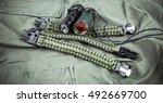 military paracord bracelet ... | Shutterstock . vector #492669700