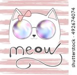 Cute Cat With Pink Bow  Cat An...