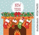 illustration of christmas socks ... | Shutterstock .eps vector #492674650