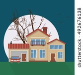 stylish house vector... | Shutterstock .eps vector #492676138