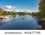 the river thames at reading in... | Shutterstock . vector #492677740