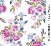floral seamless pattern with... | Shutterstock . vector #492679210