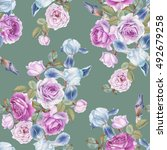 floral seamless pattern with... | Shutterstock . vector #492679258