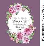 vintage floral greeting card... | Shutterstock . vector #492679378
