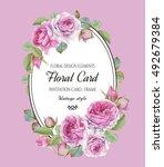 vintage floral greeting card... | Shutterstock . vector #492679384