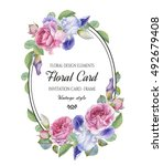 vintage floral greeting card... | Shutterstock . vector #492679408
