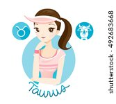 woman with taurus zodiac sign ... | Shutterstock .eps vector #492683668