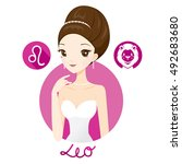 woman with leo zodiac sign ... | Shutterstock .eps vector #492683680