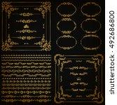 set of gold decorative hand... | Shutterstock .eps vector #492686800