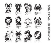 zodiac signs icons set ... | Shutterstock .eps vector #492687808