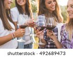 group of young smiling girls... | Shutterstock . vector #492689473