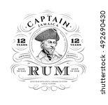 Stock vector vintage rum label logo 492690430
