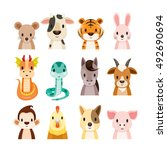 twelve animals chinese zodiac... | Shutterstock .eps vector #492690694