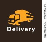 monochrome truck vector logo.... | Shutterstock .eps vector #492695254