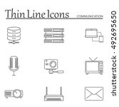 communication line icons set ...