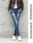 shapely female legs in sneakers ... | Shutterstock . vector #492698104