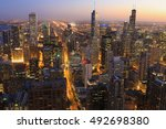 an aerial of chicago skyline at ... | Shutterstock . vector #492698380