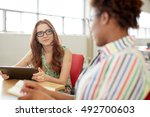 unposed group of creative... | Shutterstock . vector #492700603
