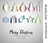 merry christmas papercut set ... | Shutterstock .eps vector #492700918
