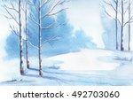 winter landscape. watercolor...   Shutterstock . vector #492703060