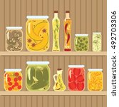 pickled vegetables in glass... | Shutterstock .eps vector #492703306
