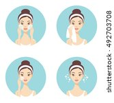 skin care face cleanse washing... | Shutterstock .eps vector #492703708