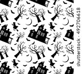 seamless pattern with old house ... | Shutterstock .eps vector #492706618