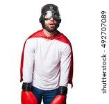 super hero wearing boxing gloves | Shutterstock . vector #492707089