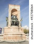 Small photo of ISTANBUL - TURKEY / OCTOBER 3, 2016: The Republic Monument on Taksim square, closeup fragment with Ataturk statue.