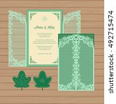 wedding invitation or greeting... | Shutterstock .eps vector #492715474