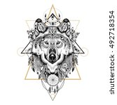 detailed wolf in aztec style | Shutterstock .eps vector #492718354