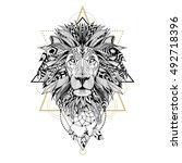 detailed lion in aztec style | Shutterstock .eps vector #492718396