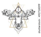 detailed moose in ethnic  boho  ... | Shutterstock .eps vector #492718399