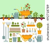 vegetable garden. garden tools. ... | Shutterstock .eps vector #492718789