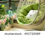 garden swing with mattress and... | Shutterstock . vector #492720589