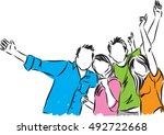 group of happy people... | Shutterstock .eps vector #492722668
