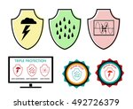 set of protection icons and... | Shutterstock .eps vector #492726379