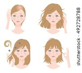 set of woman's hair problems ... | Shutterstock .eps vector #492728788
