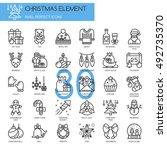 christmas element   thin line... | Shutterstock .eps vector #492735370