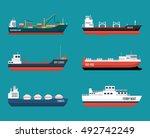 set of ships in modern flat... | Shutterstock .eps vector #492742249