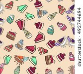 seamless doodle cake pattern... | Shutterstock .eps vector #492744694