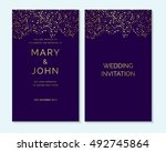 gold confetti on purple... | Shutterstock .eps vector #492745864